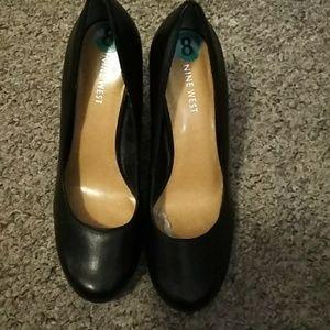 Black Nine West wedge platform shoes